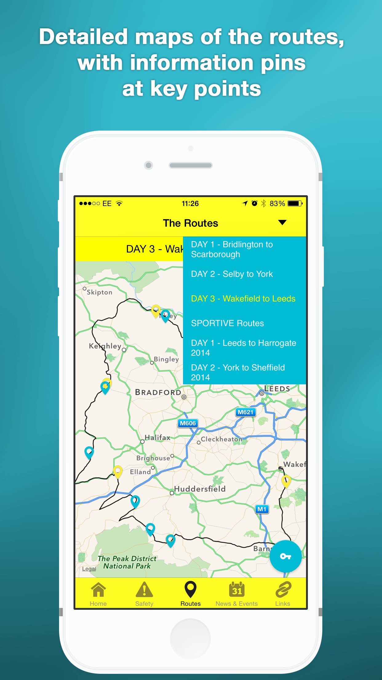 One of the maps of the Ride the Routes app