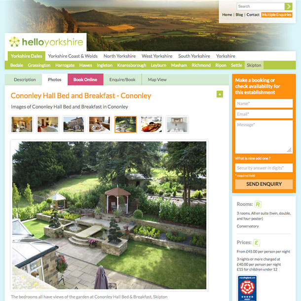 Accommodation directory site for Yorkshire