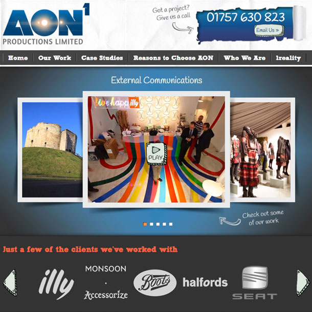 A carousel showcases AON's featured project videos