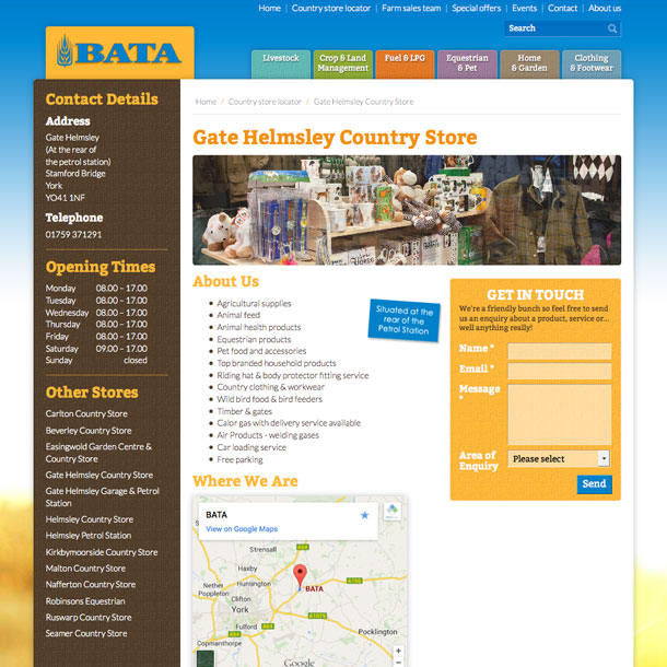 The website contains a contact info directory for all of BATA's country stores