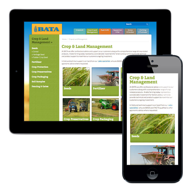 The responsive web design shown on a mobile and tablet