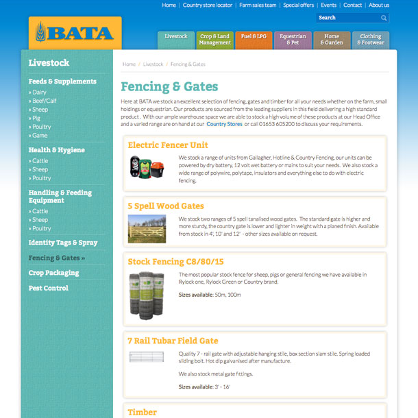 A product category page showing BATAs product ranges
