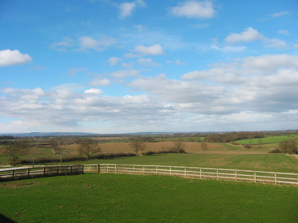 Views over the open countrysdie from Walnut Cottage