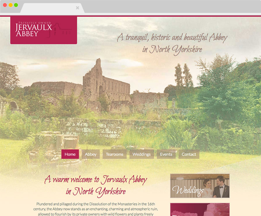 Jervaulx Abbey website on desktop