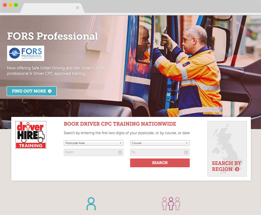 Driver Hire Training desktop site screenshot