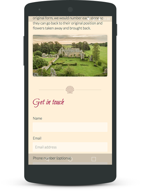 Jervaulx Abbey website on mobile device