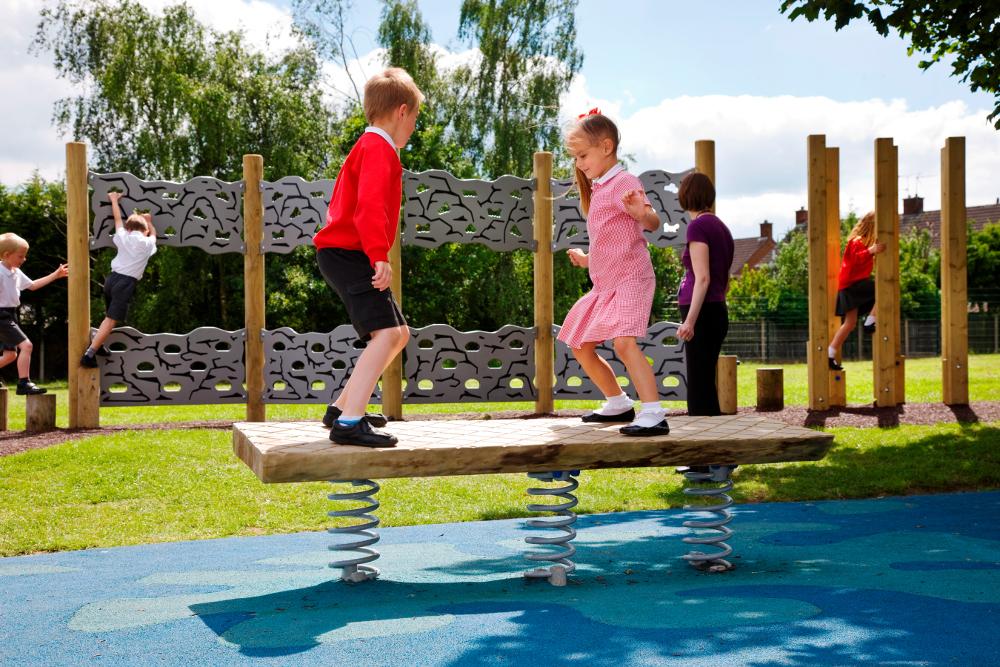 children using a wobble board