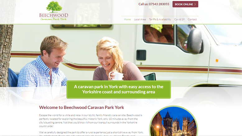 Beechwood Caravan Park York website screenshot