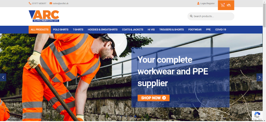 ARC e-commerce website launch screenshot