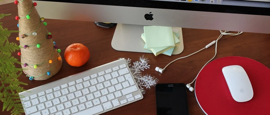 Christmas decorations on a home office desk